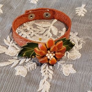 Jewelry - Hand Tooled Leather And Beaded Flower Bracelet